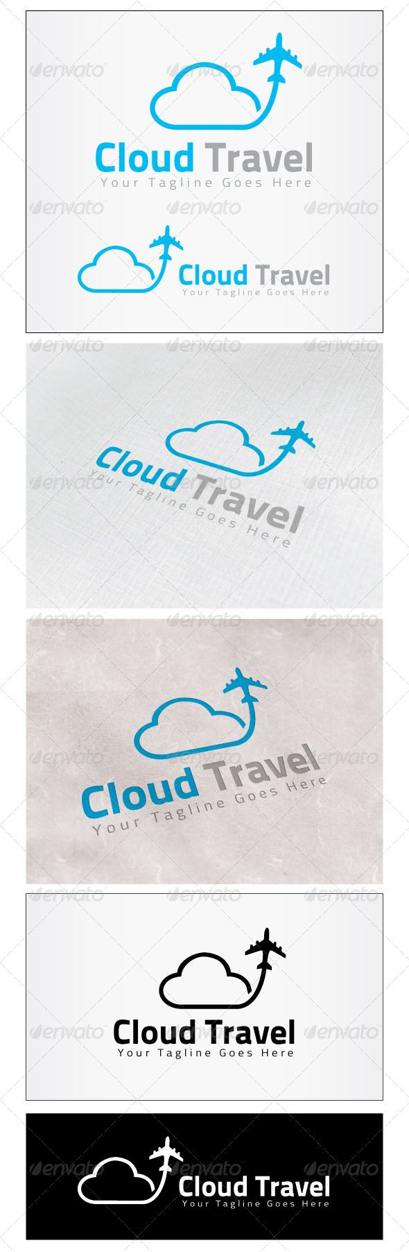 Cloud Travel Logo by himoo Re sizable Vector EPS and AiPSD 6667*5000 Color customizable Fully editable Free font used: http://www.fontsquirrel.com/fonts/Titi