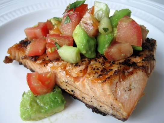 cucumber, tomato, avocado salsa with chips or over fish - Meg made ...