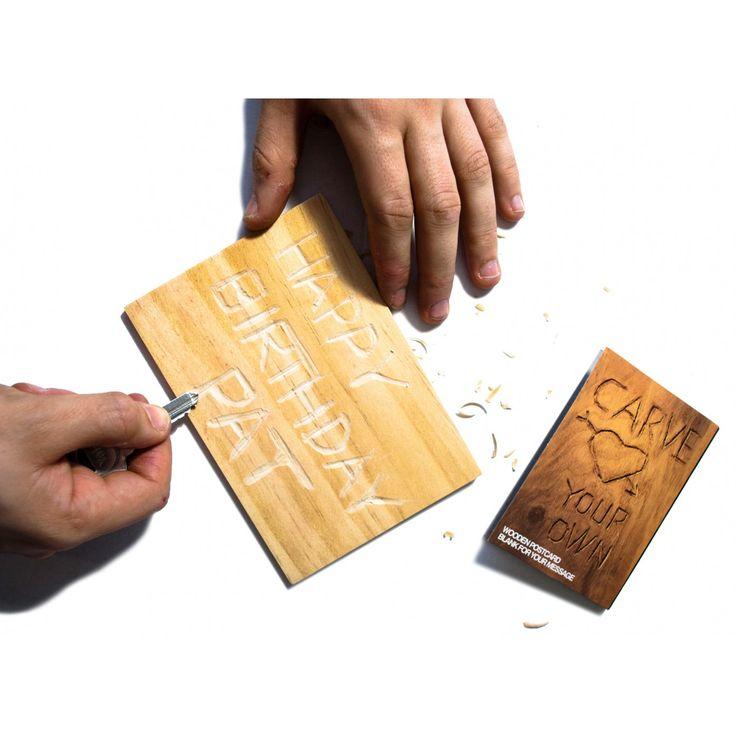 Carte postale personnalisée en bois