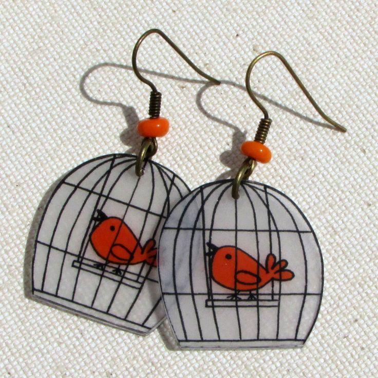 Boucles d'oreilles p'tit cui-cui orange en plastique dingue : Boucles d'oreille par passion-nee