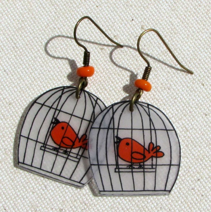 Boucles d'oreilles p'tit cui-cui orange en plastique dingue : Boucles d'oreille par passion-nee