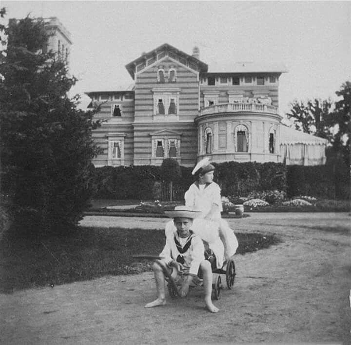 Tsarevich Alexei Nikolaevich Romanov of Russia at the Lwer dacha at Alexandria Park in Peterhof.A♥W