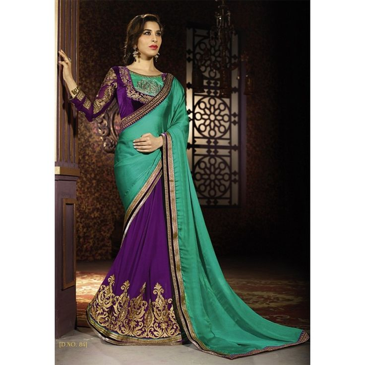 Chic Georgette Embroidered Work Festive Wear & Party Wear Saree at just Rs.1565/- on www.vendorvilla.com. Cash on Delivery, Easy Returns, Lowest Price.