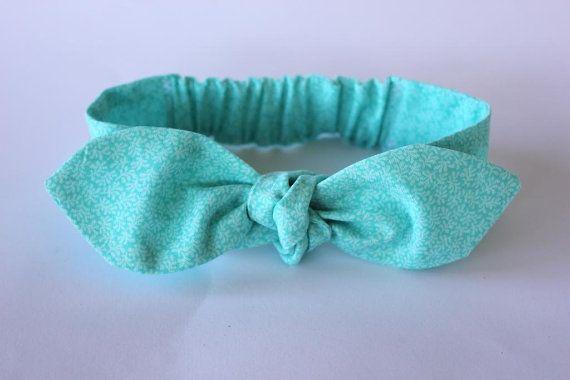Baby bow headband mint green white flower by ElleBelleBliss $12 AUD