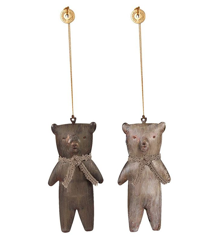 DEUX ORNEMENTS OURS TEDDY METAL MAILEG 11 euros