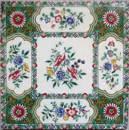Copeland & Garrett Ceramic Antique 8'' Hand Coloured Tile