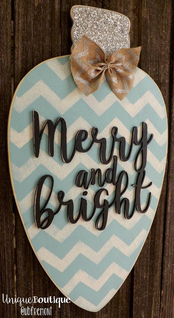 Christmas Light Bulb Ornament Door Hanger by UniqueBoutiqueDecor