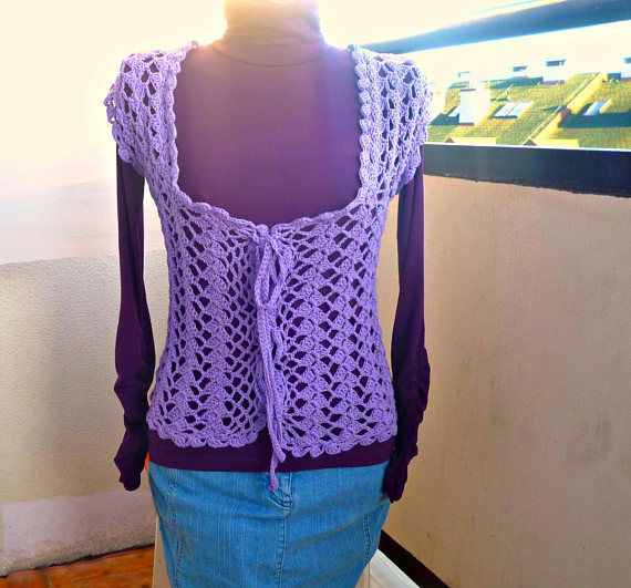 Crochet Bolero purple Handmade Vest  Unique Cotton Sleeve