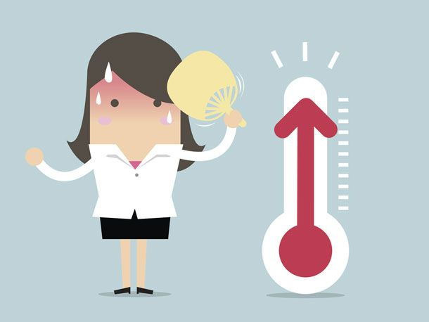 Hitzewallungen sind hinterlistig: Innerhalb von wenigen Sekunden schnellt die Körpertemperatur in die Höhe, auf der Stirn bilden sich Schweißperlen und die Haut errötet.