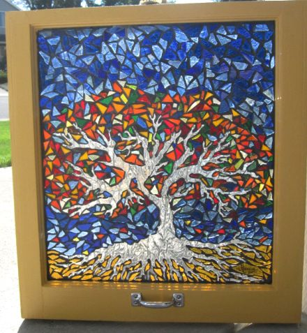 Tree of Life Stained Glass Window Mosaic won 2st prize at the Columbia County Art Guild Art Show.