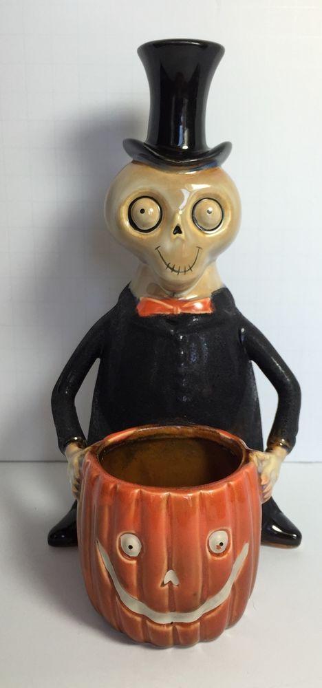2008 Yankee Candle Boney Bunch Skeleton W/Pumpkin Votive Halloween  #1148172