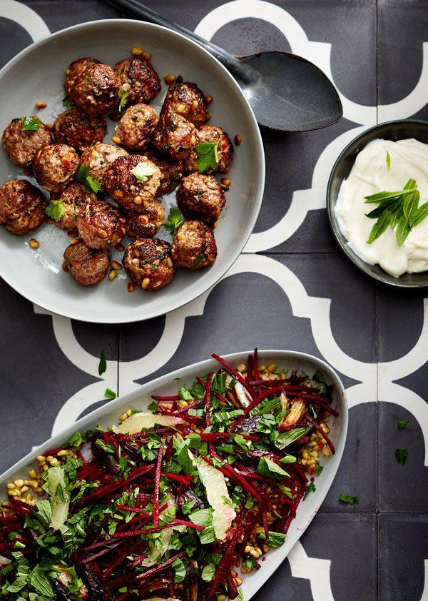 Toasted pinenut lamb kofta with grated beetroot freekeh salad. Recipe and food styling - Gemma Lush, photo - Phu Tang. Background tiles by Jatana Interiors. Ceramic bowls – Mud Australia.