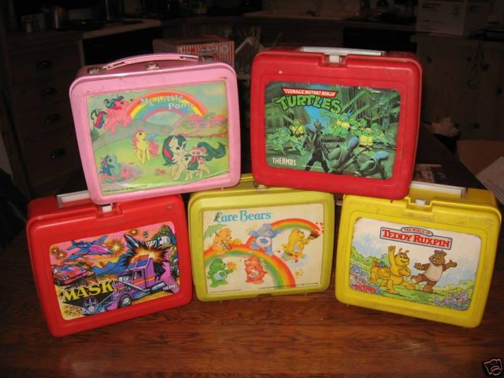 Lunch boxes - My Little Pony, Carebears, Teddy Ruxpin, Ninja Turtles. Wow these bring back some good memories