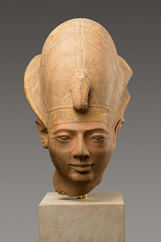 Head of King Amenmesse Wearing the Blue Crown    Period:      New Kingdom, Ramesside  Dynasty:      Dynasty 19  Reign:      reign of Amenmesse  Date:      ca. 1203–1200 B.C.  Geography:      Egypt, Upper Egypt; Thebes, Karnak, Temple of Amun, Hypostyle Hall  Medium:      Quartzite, paint  Dimensions:      H. 44.5 cm (17 1/2 in)