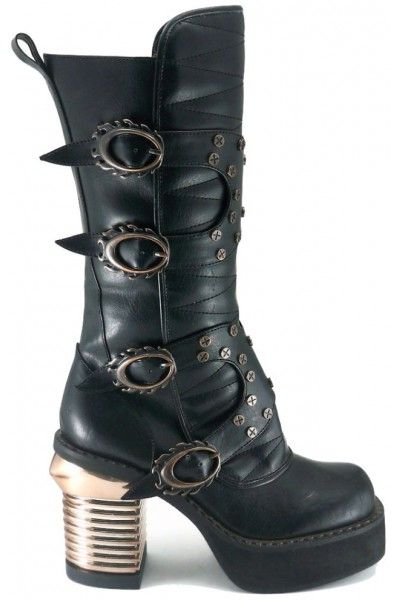3fd52630f87 Harajuku Steampunk Captain Womens Black Boot at Mild to Wild Shoes