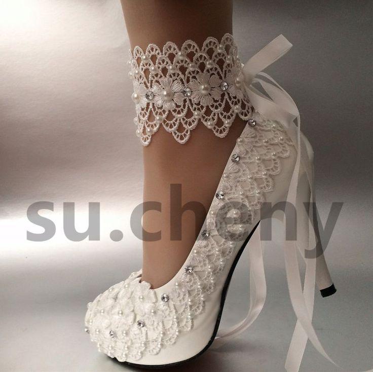 """3"""" 4 """"calcanhar Branco Marfim Renda fita tornozelo Pérolas Noiva sapatos de casamento tamanho 5-11"""