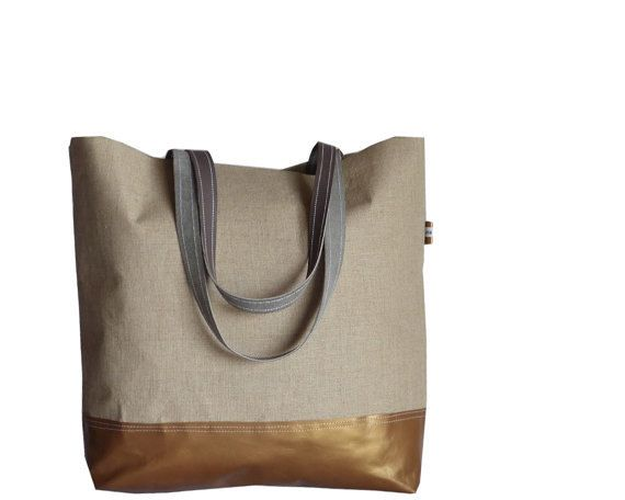 COPPER Brown Leather Tote Bag  Organic Bare Linen XL by dawnaparis, €49.00