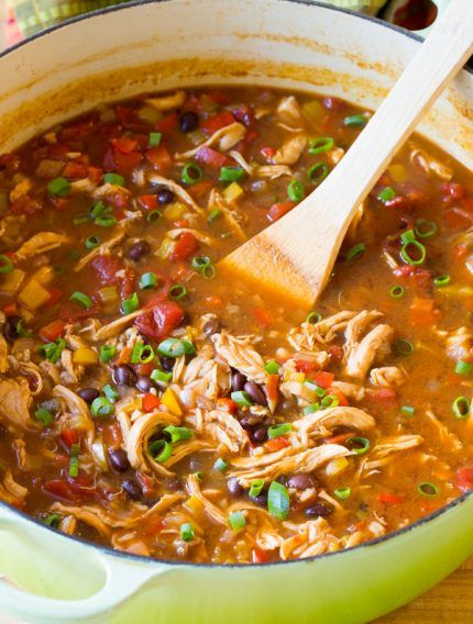I would use my own seasoning instead of packet to make it healthy  Skinny Chicken Fajita Soup Recipe - Low Fat, Gluten Free, & Low Carb Option!