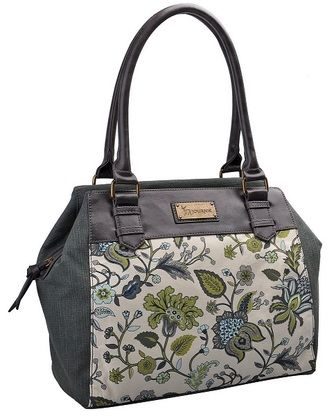 The Miami Chich Handbag from Journie is a combination of our light green toned denim with our green and blue flower fabric