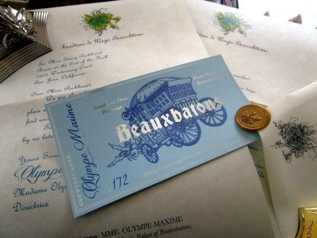 French Wizarding School Letter & Coach Ticket
