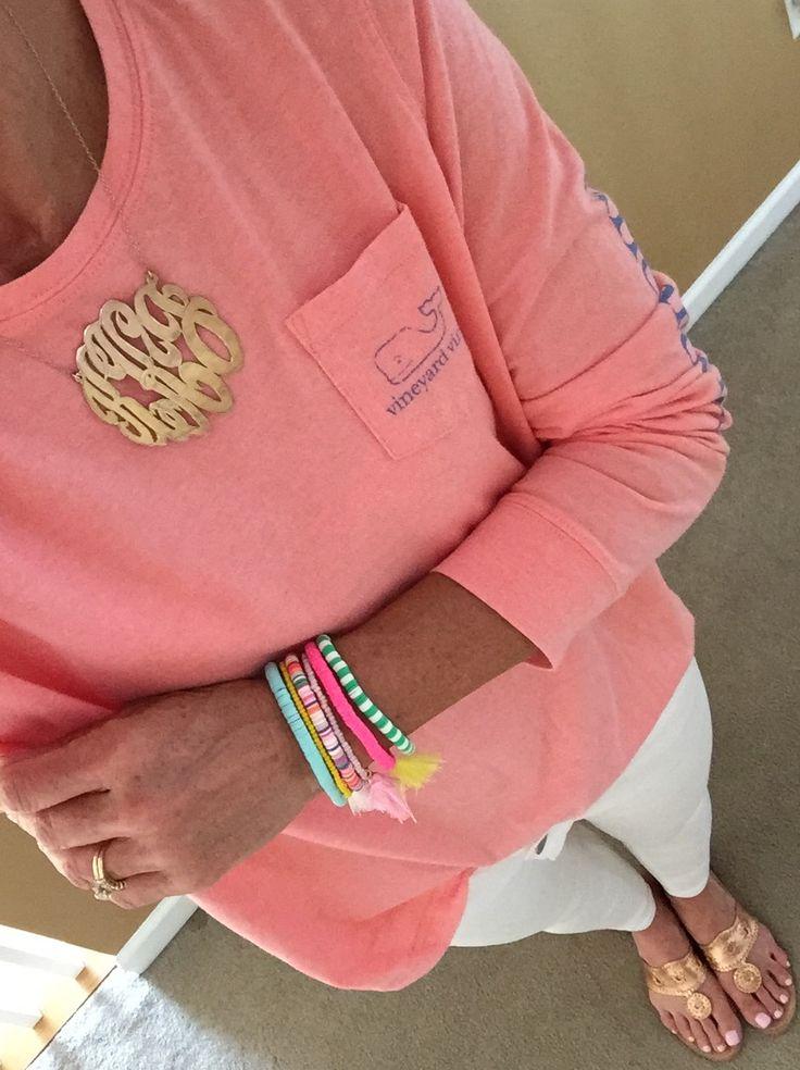 Fashion Over 40: Vineyard Vines shirt, Loft jeans, Jack Rogers sandals, Monogram Necklace, Purple Peridot Bracelet stack