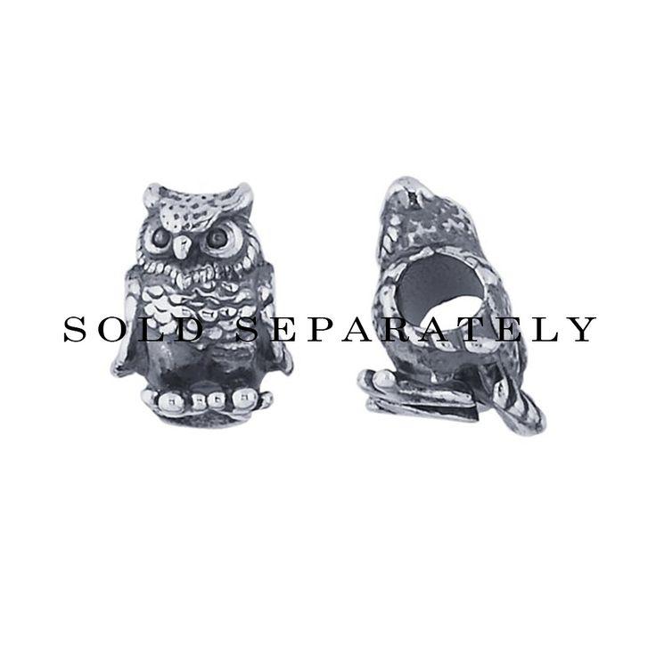 FROLIC Sterling Silver Owl Slider Charm
