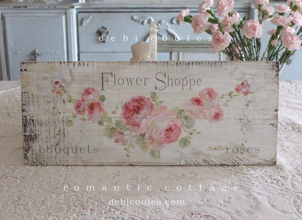 Shabby Romantic Flower Shoppe Sign - Debi Coules Romantic Art