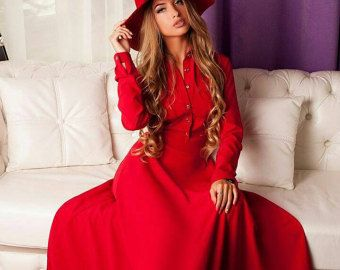 Red maxi dress Long dress for women Red dress with long