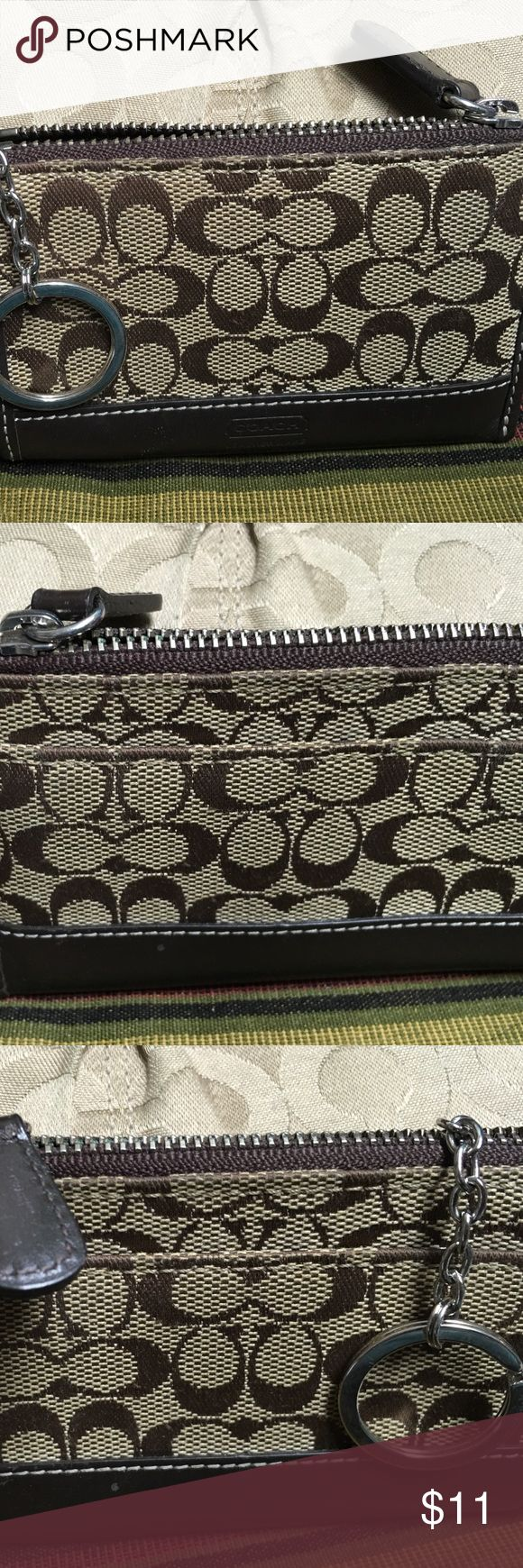 Coach card holder.. Key chain ring Brown .. Zipper pocket with side slot. Coach Accessories Key & Card Holders