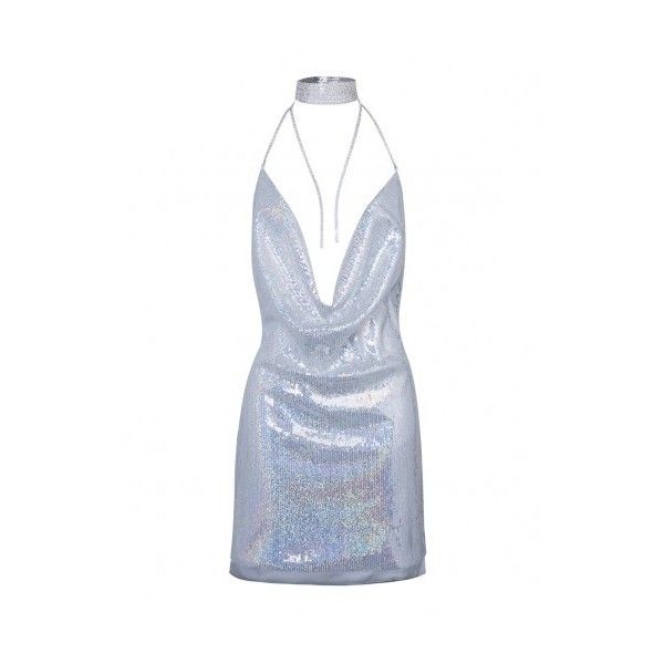Silver Cowl Front Open Back Split Side Sequined Bodycon Dress (225 DKK) ❤ liked on Polyvore featuring dresses, white dress, white bodycon dress, open back cocktail dress, silver dress and silver bodycon dress