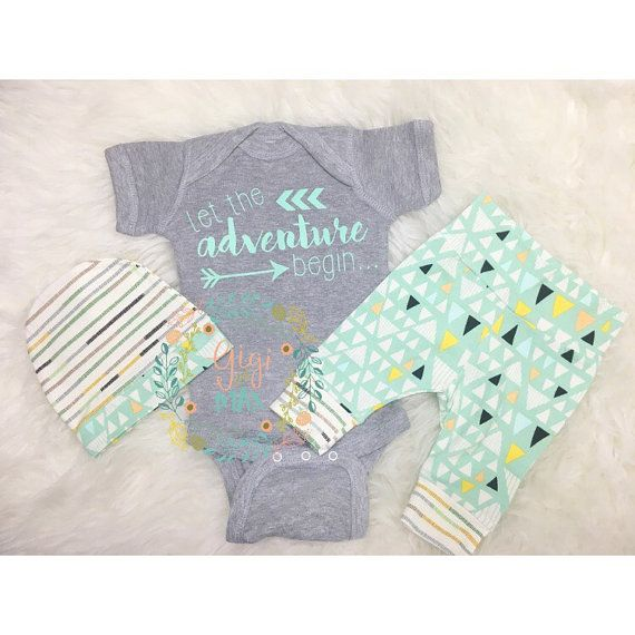 Newborn Baby coming home outfit Mint and Navy Blue by GigiandMax