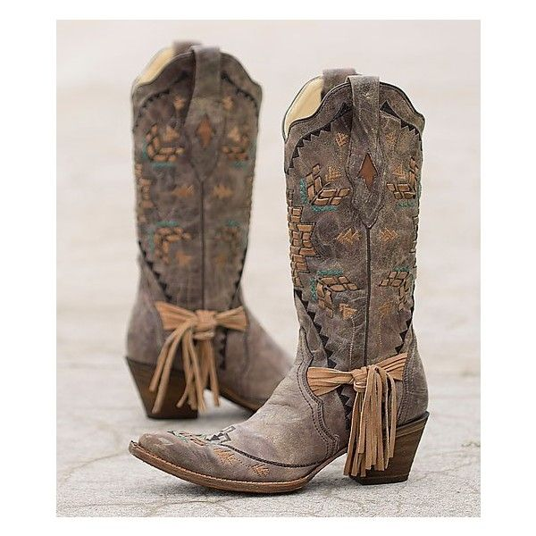 Corral Embroidered Cowboy Boot ($285) ❤ liked on Polyvore featuring shoes, boots, brown, leather cowboy boots, vintage leather boots, brown cowgirl boots, tall boots and distressed leather boots
