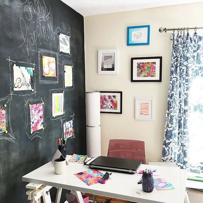 colorful home office. magnetic chalkboard gallery wall inside my colorful home office click through to see the whole tour and shop artwork featured here