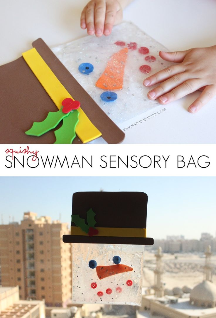 Super awesome!! Squishy Snowman Sensory Bag for Kids.