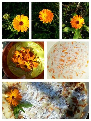 PANNENKOEKEN MET GOUDSBLOEM Strooi door het pannenkoekenbeslag de bloemblaadjes van goudsbloem.