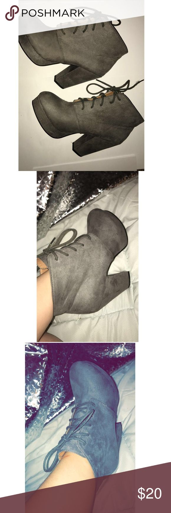 WORN ONCE GREY BOOTIES!! Grey booties that I wore once to my graduation party. They're a suede material size 8 women's. they're in great shape with only one scuff (pictured) that's not even noticeable when you're wearing them! I bought them for $49.99 at DSW!   DONT FORGET TO OFFER A PRICE! 🏋🏻 MIXN06 Shoes Ankle Boots & Booties
