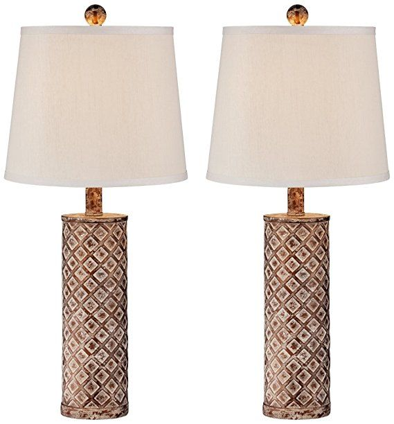 Gisele Gold Wash Lattice Column Table Lamp Set Of 2 Table Lamp Sets Lamp Sets Antique Lamp Shades