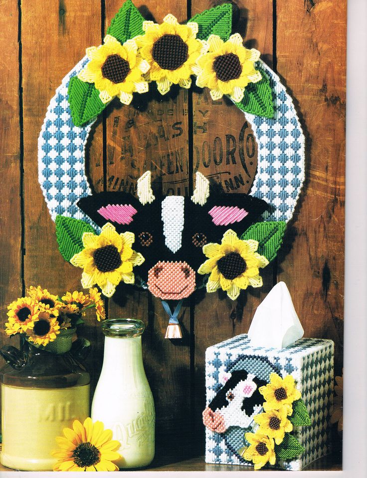 """Sunflower & Cow Wreath 1/6 """"Kitchen Things"""" in Plastic"""