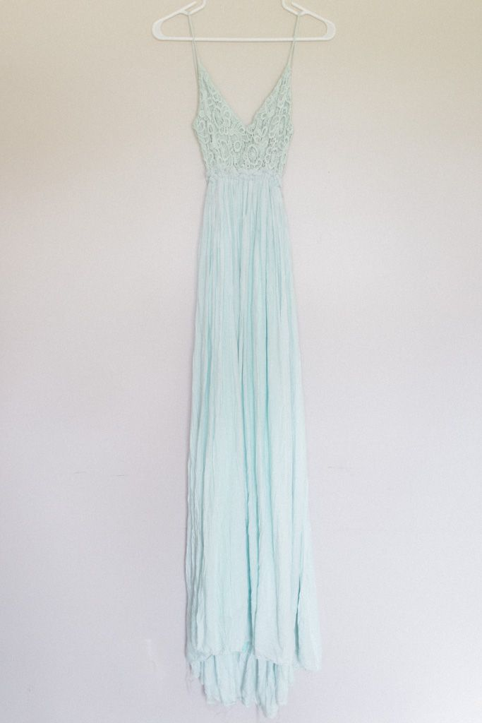 Mint maxi dress, size Large. This gown has an open back.