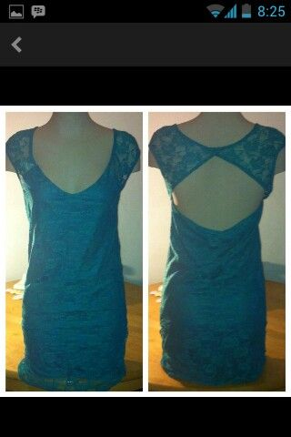 New large xl no.stretch mesh turquoise dress 40$plus shipping