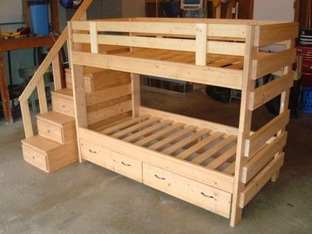 Bunk bed with side stairs 725 for sale in mankato for Bunk bed frames for sale