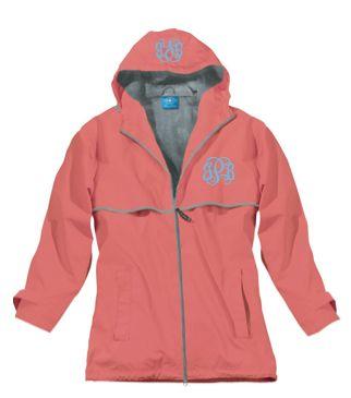 Preppy Monogram Coral Rain Jacket | underthecarolinamoon.com #RainyDays #MonogramRainJacket #RainJacket #CoralRainJacket #UTCM #UnderTheCarolinaMoon