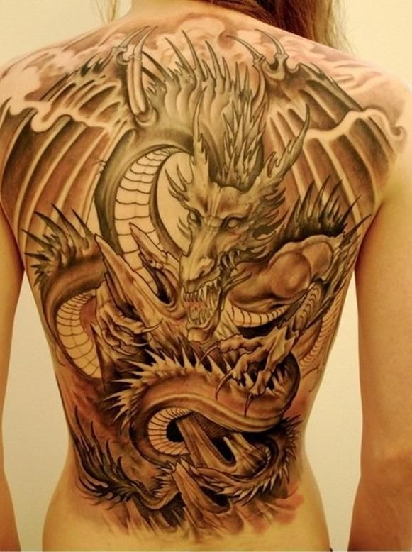 Tatouage Dragon Pleine Attaque Dos Femme Ink My Body Tattoos