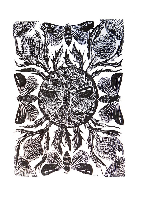 Moths and Thistle Linocut Black by Mangle Prints, via Flickr