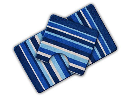 From 7.50 Non Slip Striped 2 Piece Bath Mat & Pedestal Mat Blue Multi Stripes