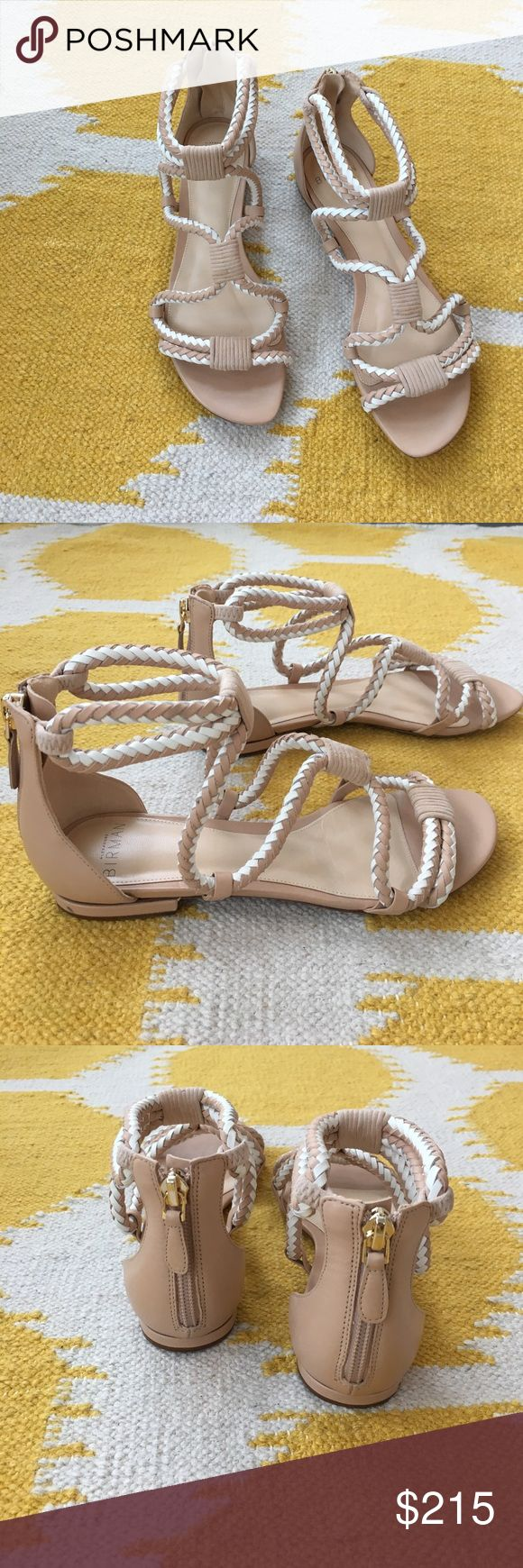 Beautiful woven Alexandre Birman sandals White and nude braided gladiator like sandals by Alexandre Birman.  Suede accents.  Zipper in the back.  Worn once.  Size 35 Alexandre Birman Shoes Sandals