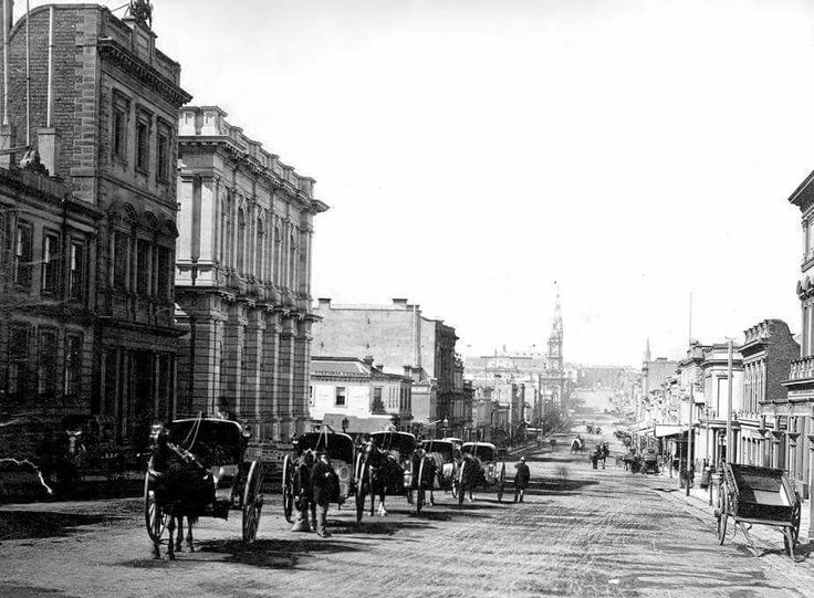 Collins St,Melbourne from Market St in the 1870.