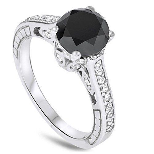 #blackdiamondgem 2.69CT Vintage Black Diamond Engagement Ring 14K White Goldby Pompeii3 Inc. - See more at: http://blackdiamondgemstone.com/jewelry/wedding-anniversary/engagement-rings/269ct-vintage-black-diamond-engagement-ring-14k-white-gold-com/#sthash.of0Jb4fH.dpuf