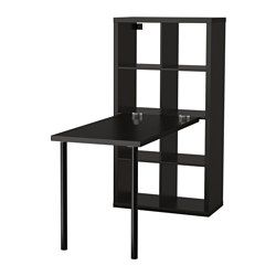"""IKEA - KALLAX, Workstation, black-brown, 30 3/8x57 7/8 """", , You can use the furniture as a room divider because it looks good from every…"""