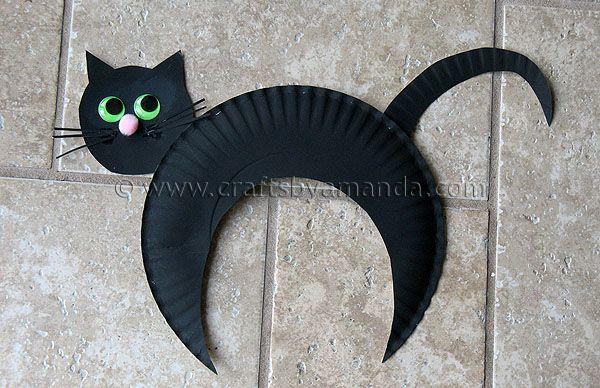 Paper Plate Black Cat, #craft, children, elementary school, Halloween, #knutselen, kinderen, basisschool, kleuters, dier, zwarte kat van papieren bord